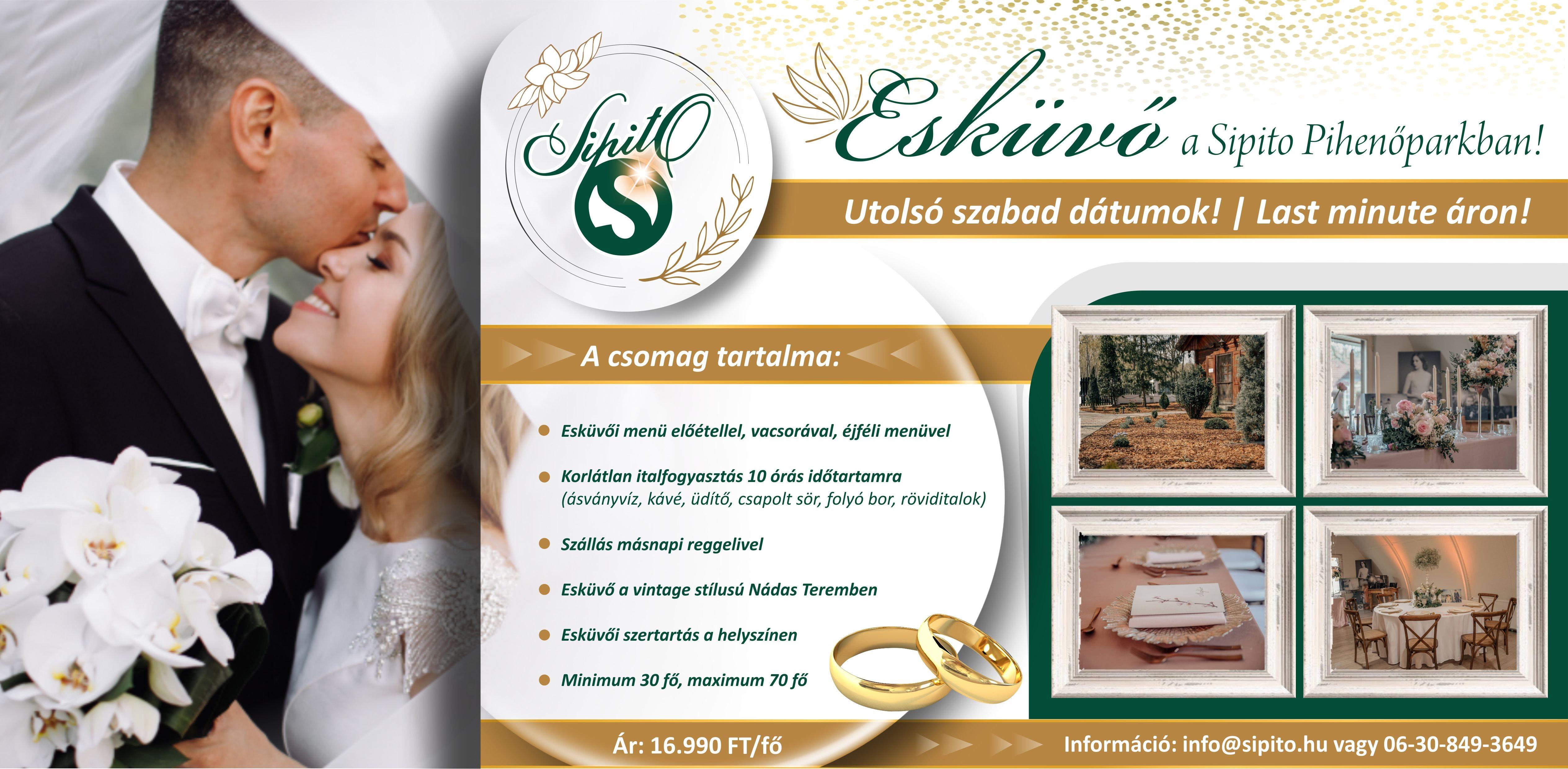 Esküvő helyszín | Akciós esküvői ajánlat a SIPITO Pihenőparkban